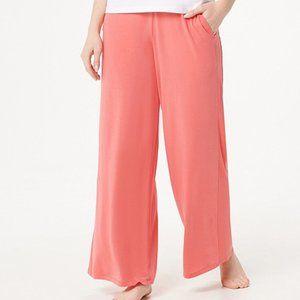 2X Cuddl Duds Petite Softwear Wide Leg Pants Coral
